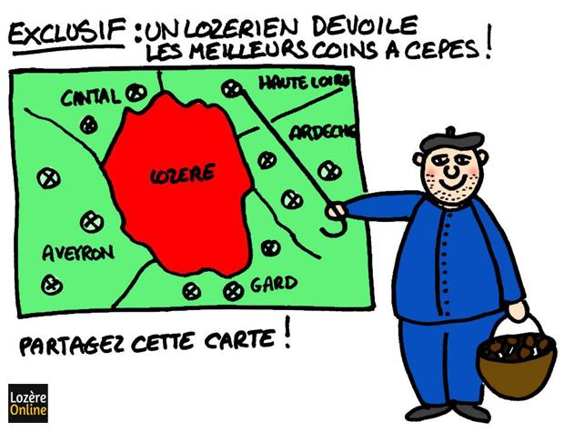 Carte cèpes Lozère